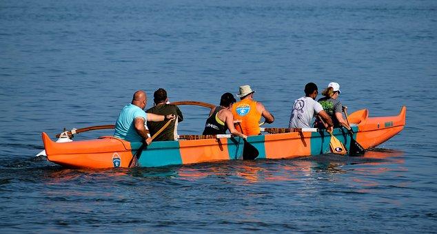 Hawaiian, Outrigger Canoe, People, Recreation, Sport