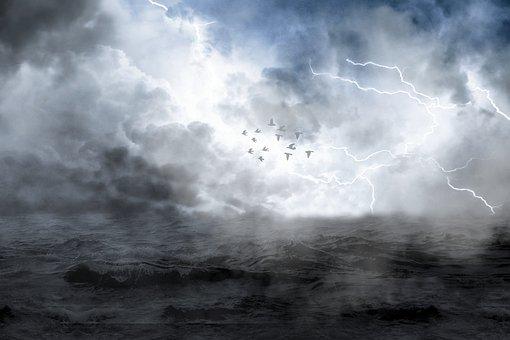 Seascape, Clouds, Storm, Horizon, Hope, Birds, Ocean