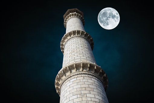 Sky, Moon, Tajmahal, Building, Night, Space, Dark