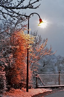 Lantern, Lamp Post, Winter, Snow, Light, Cold, Vote