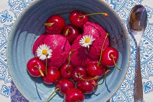 Dessert, Sorbet, Cherries, Sweet, Food, Ice, Fruit