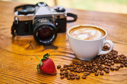 Latte, Strawberry, The Drink, Food, Restaurant, Coffee