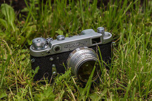Camera, Lens, Retro, Photo, Summer, Grass