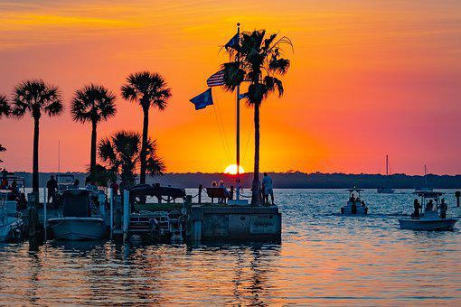 Florida, Sunset, Palm Trees, Water, Sky, Colorful