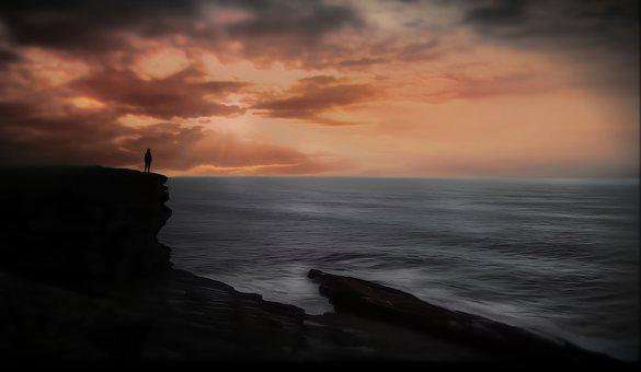 Sunset, Sea, Cliffs, Wave, Light, Clouds, Mood