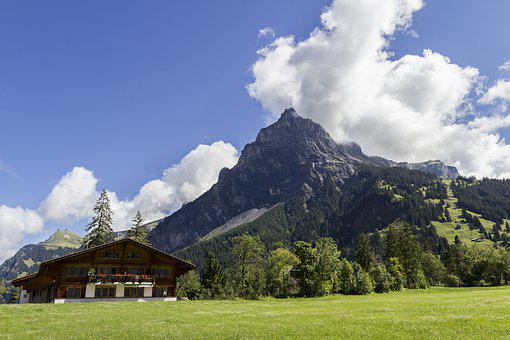 Kandersteg, Swiss, Switzerland, Alps, Village, Chalet