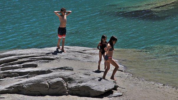 Beach, Rock, Water, Children, Holidays, Turquoise