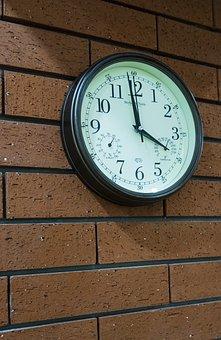 Clock, Brick Wall, Time, Dial, Brick