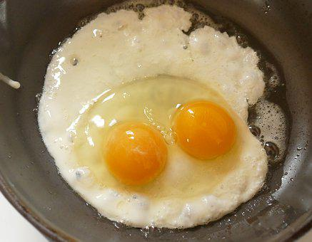 Fried Egg, Double Yolked Egg, Egg With Two Yolks, Egg