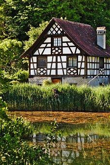 House, Truss, Fachwerkhaus, Old, Pond, Mirroring