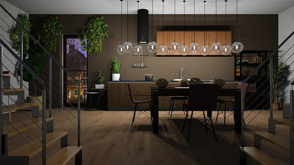 Kitchen, Dining Room, Be, Floor, The Interior Of The