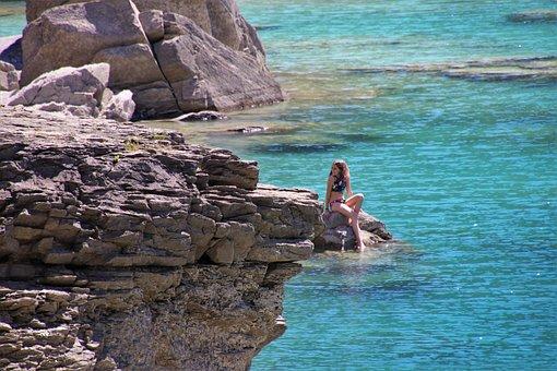 Meeting, Rocks, Water, Girl, Mountain, Freedom