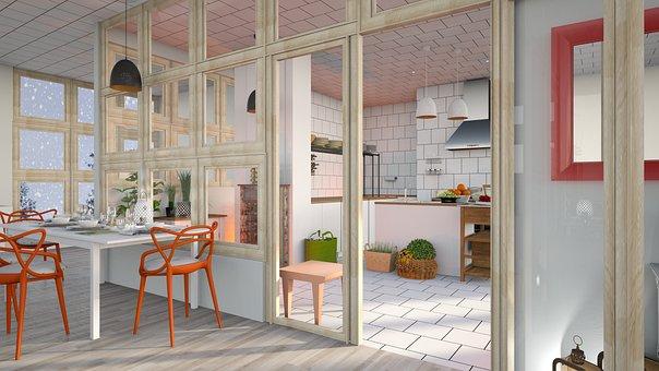 Large Kitchen, Mirror, Poultice, Tile, White, Orange