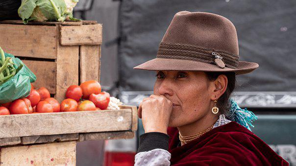 Ecuador, Market, Vegetables, Indio, Hat, Portrait, View