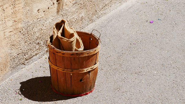 Bucket, Vintage, Wooden Bucket, Container, Antique