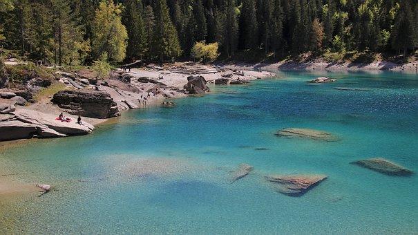 Lake, Far View, Blue, Beach, Caumasee, Water, Alpine