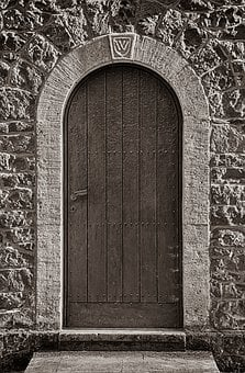 Goal, Door, Wooden Door, Wooden Gate, Stone Wall
