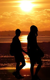 Sunset, Couple, Beach, Love, Romantic, Romance, People