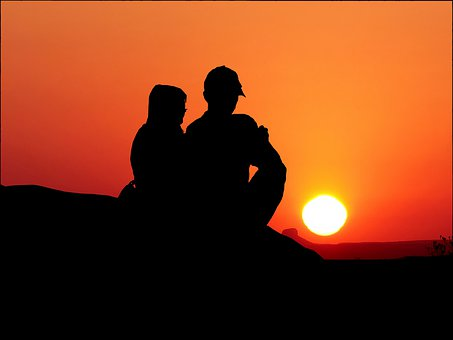 Sunset, Couple, Love, Romantic, People, Set