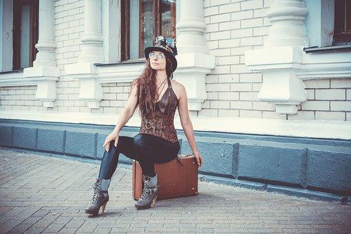 Steampunk, Parabank, Cylinder, Hat, Suitcase, Costume