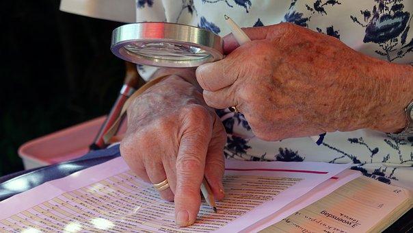 Visual Impairment, Elderly, Hands, Woman, Adult