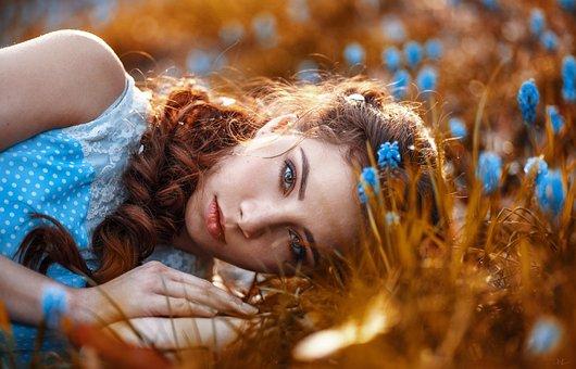 Summer, Flower, Hair, Portrait, Face, Eye, Relax, Sun