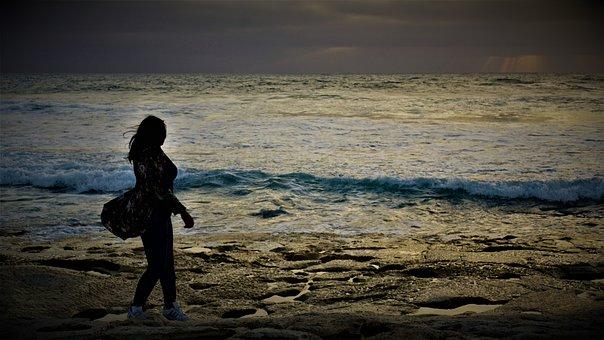 Woman, Ocean, Sea, Coast, Water, Human, Female