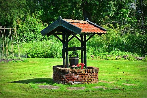 Water Well, Tiled Roof, Bucket, Brick Wall, Garden