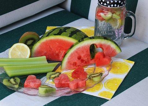 Watermelon, Heart, Fruit, Refreshment, The Drink, Glass