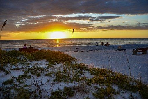 Sunset, Sky, Gulf, Florida, Water, Clouds, Coast