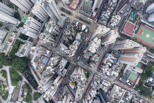 City, Landscape, Buildings, Street, Aerial, Hong Kong
