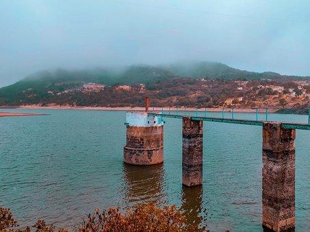 Mineral De Chico, Lake, Damn, Bridge, Fog, Hills, Water