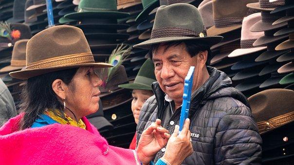 Ecuador, Market, Purchasing, Hat, Indio, Craft