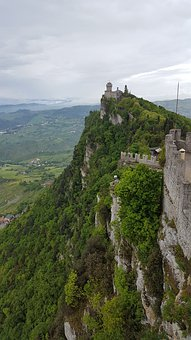 San Marino, Landscape, Cliff, Tower, Clouds, Sky