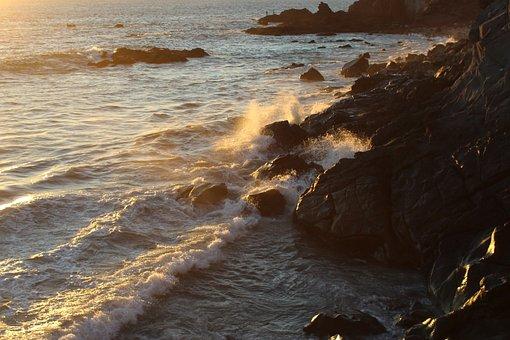 Mazatlan, Atardecer, Sea, Beach, Costa, Mar, Sunset