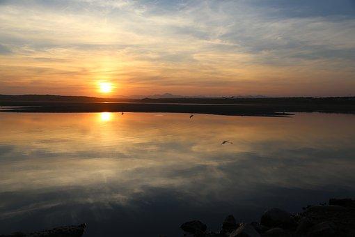 Sunset, Nature, Sea, Water, Horizon, Sun, Sunrise