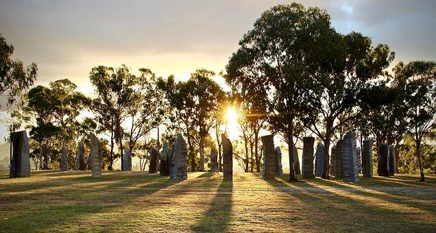 Sunset, Stones, Forest, Trees, Dusk, Australia