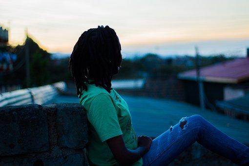 Sunset, Africa, Dreadlocks, Kenya, Silhouette, People