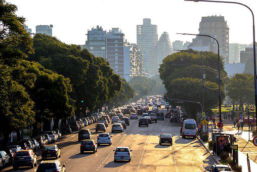Argentina, Buenos Aires, Faculty, Sunset, Cars, Avenue