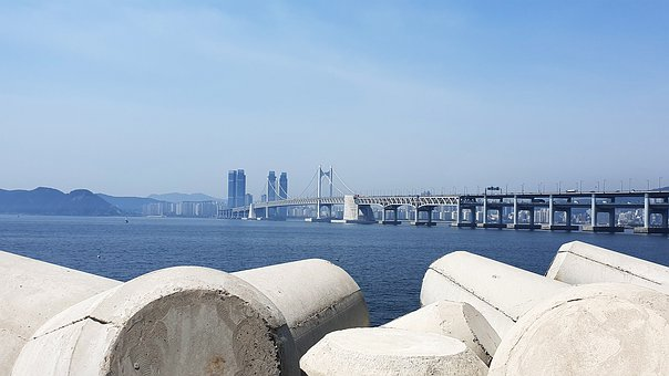Bridge, Sea, Breakwater, Blue, Busan, In School