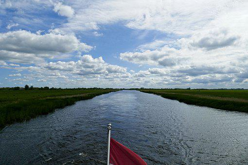 Boating, Boat, View, Channel, Clouds, Holiday