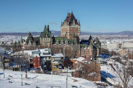 Winter, Quebec, Canada, Castle, Terrasse Dufferin