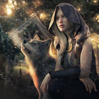 Fantasy, Animal, Girl, 3d, Render, Cg, Cgi, Atmospheric