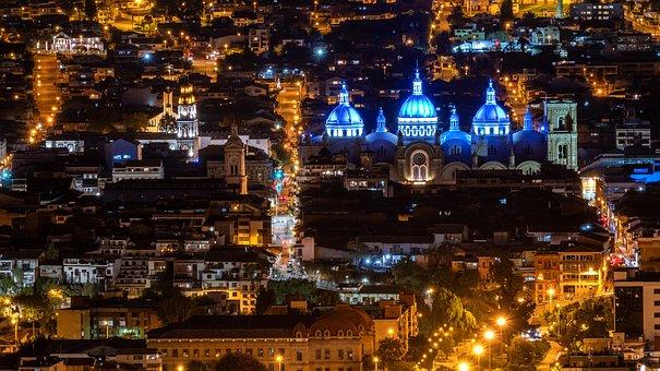 Ecuador, Cuenca, Night Photograph, Cathedral