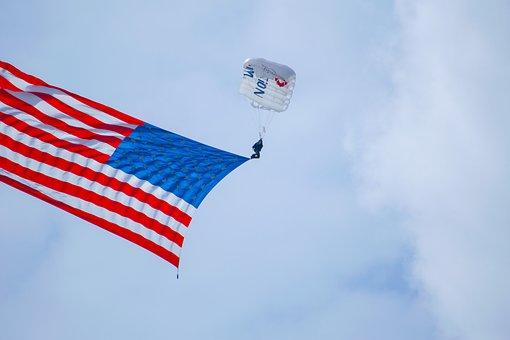 Parachute, American Flag, Skydiver, Flag, Patriotic