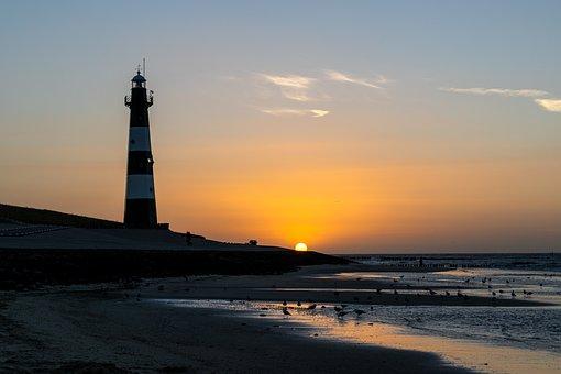 Sunset, Breskens, Lighthouse, Sun, Sky, Holland, Coast