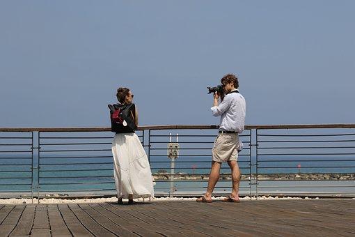 Man, Woman, Couple, Photograph, Tourists, Romance