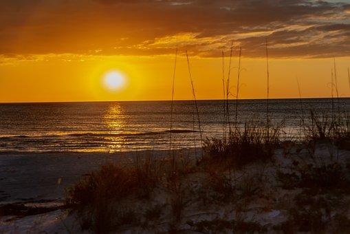 Sunset, Beach, Sea, Ocean, Nature, Landscape, Romantic
