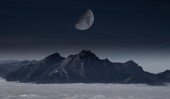 Moon, Mountain, Sky, Mountains, Night, Landscape