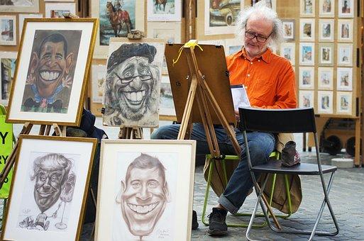 Painter, Artist, Man, Old, Age, Cartoonist, Paintings